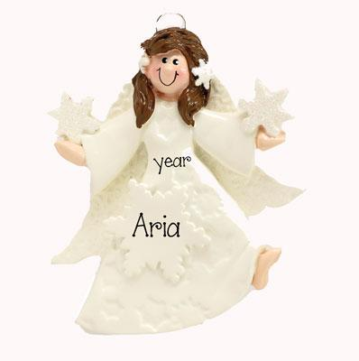 Brunette ANGEL w/ GOWN ~Personalized Christmas Ornament