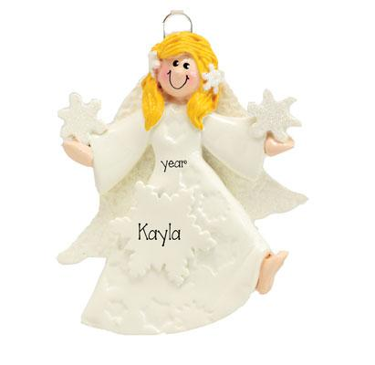 Blonde ANGEL w/ GOWN ~Personalized Christmas Ornament