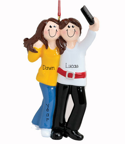 Brunette Selfie COUPLE~Personalized Christmas Ornament