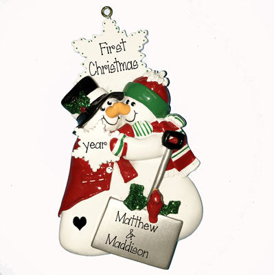 Snowman Couple Touching Noses 1st Christmas Ornament