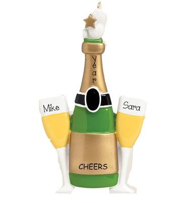 CHAMPAGNE TOAST Personalized Ornament