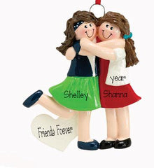 2 BEST FRIENDS HUGGING ORNAMENT, BRUNETTE / MY PERSONALIZED ORNAMENTS