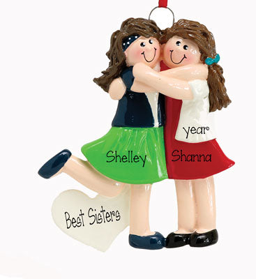 TWO SISTERS HUGGING, BRUNETTE ORNAMENT / MY PERSONALIZED ORNAMENTS
