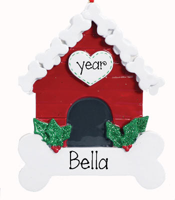 DOG HOUSE with bone~Personalized Christmas Ornament