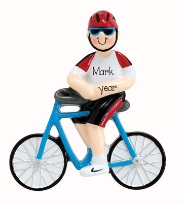BOY ON BLUE BICYCLE, MY PERSONALIZED ORNAMENTS