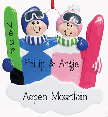 Ski COUPLE~Personalized Christmas Ornament