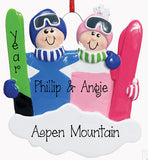 SKI COUPLE, MY PERSONALIZED ORNAMENTS
