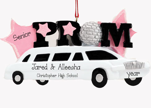 PROM WITH WHITE LIMOUSINE, MY PERSONALIZED ORNAMENTS