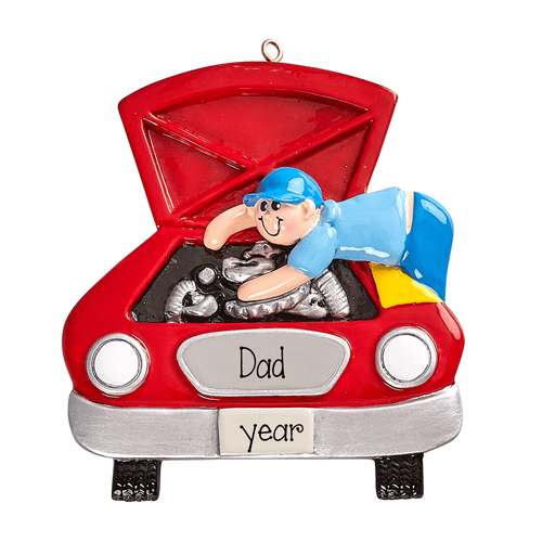 Dad the Mechanic working on a Red Car ~Personalized Christmas Ornament