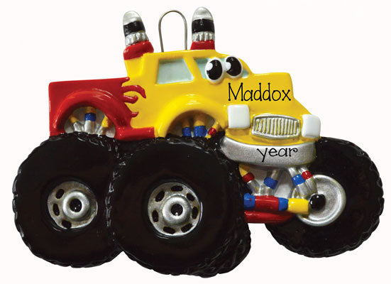 MONSTER TRUCK w/ eyes~ Personalized Christmas Ornament