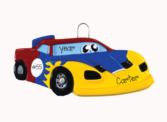 BLUE, RED AND YELLOW RACECAR WITH EYES ORNAMENT, My Personalized Ornaments