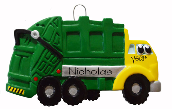 green garbage truck with eyes ORNAMENT / MY PERSONALIZED ORNAMENT