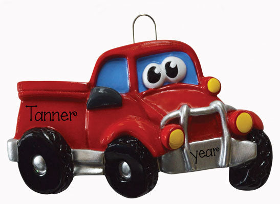 RED pickup truck with eyes ORNAMENT, MY PERSONALIZED ORNAMENTS