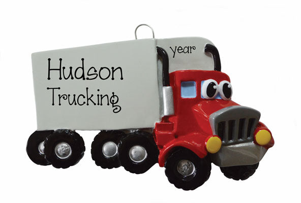 RED SEMI TRUCK W/ EYES Ornament