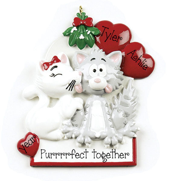 kitty cat couple/mypersonalizedornaments/christmas ornaments