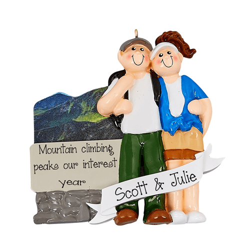 Couple's Getaway to the Mountains~Personalized Christmas Ornament