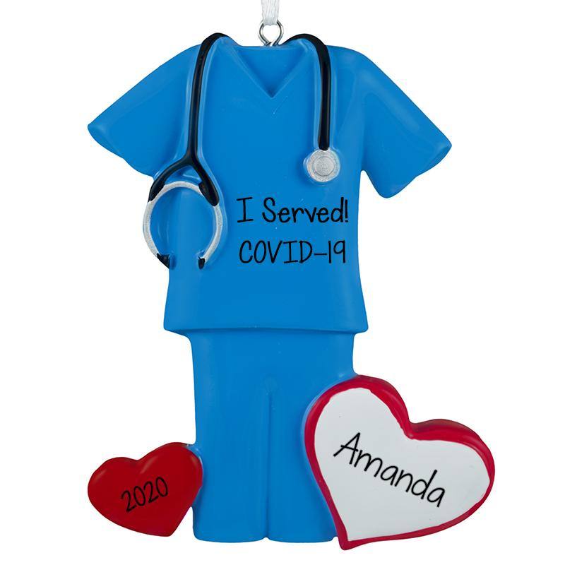 COVID-19 BLUE SCRUBS w/ STETHOSCOPE - Personalized Christmas Ornament