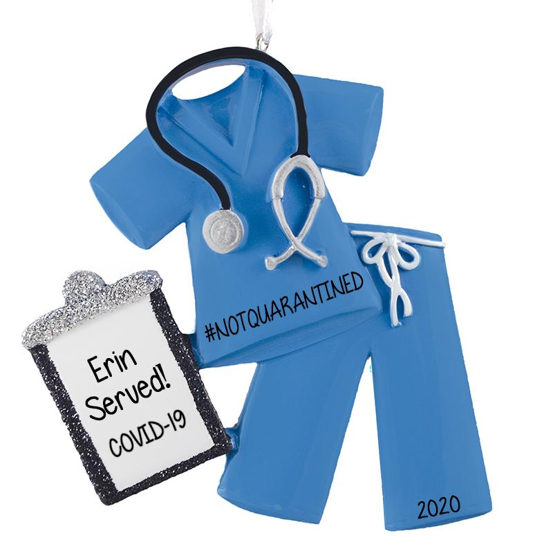 COVID-19 SCRUBS with CLIPBOARD (red, green or blue) - Personalized Ornament