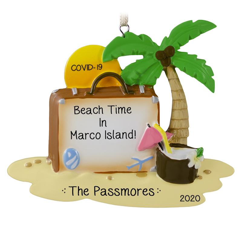COVID-19 Beach Vacation-Suitcase with Palm Tree and Setting Sun- Personalized Ornament
