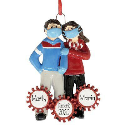 COVID-19 COUPLE~Social Distancing Together~Personalized Ornament