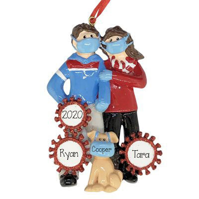 COVID-19 Couple with Dog~Personalized Christmas Ornament