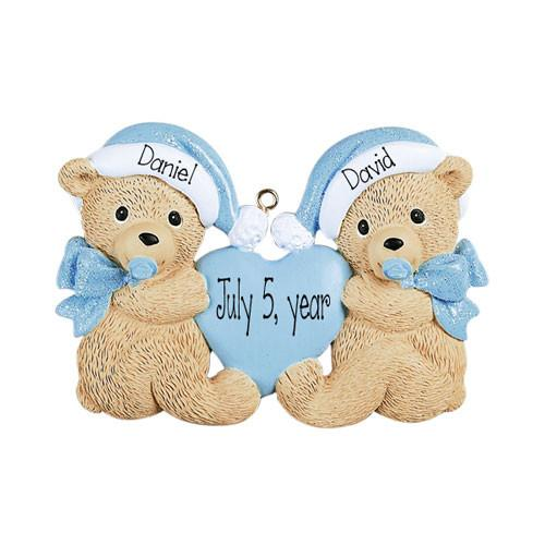 Baby Boy Twin Bears Personalized Ornament