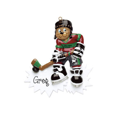 HOCKEY BEAR ORNAMENT / MY PERSONALIZED ORNAMENTS