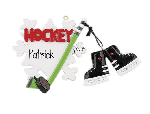 HOCKEY WITH STICK AND SHOES ORNAMENT / MY PERSONALIZED ORNAMENTS