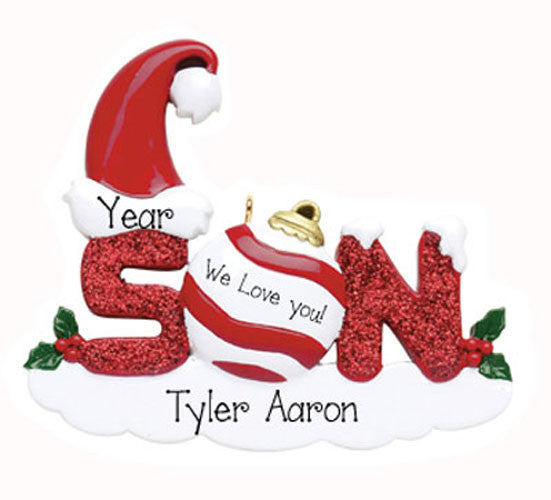 SON w/ RED GLITTER - Personalized Ornament