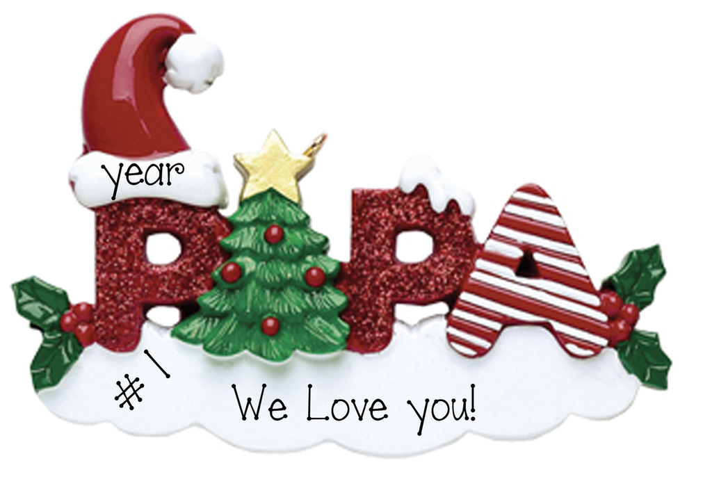 Red Glitter PAPA~Personalized Christmas Ornament