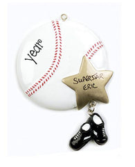 baseball w/ gold star, my personalized ornaments