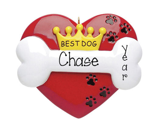 RED HEART BEST DOG ORNAMENT / MY PERSONALIZED ORNAMENTS