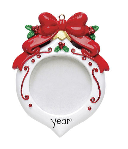 WHITE PHOTO FRAME WITH RED BOW ORNAMENT / MY PERSONALIZED ORNAMENTS