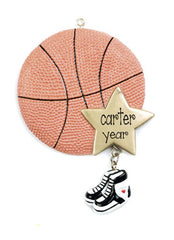 BASKETBALL WITH GOLD STAR ORNAMENT / MY PERSONALIZED ORNAMENTS