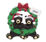 BLACK BEAR/BLACK BEAR WREATH COUPLE/MYPERSONALIZEDORNAMENTS/CHRISTMAS ORNAMENT