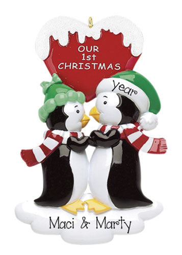 PENGUIN COUPLE 1ST CHRISTMAS ORNAMENT / MY PERSONALIZED ORNAMENTS