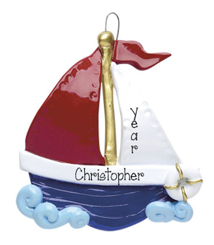 Red, White and Blue Sailboat - Personalized Ornament