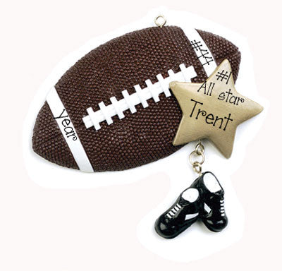 FOOTBALL WITH GOLD STAR / MY PERSONALIZED ORNAMENTS