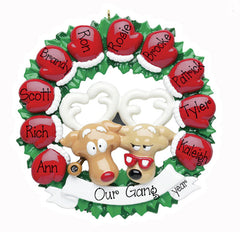 red mitten wreath for 10/personalized christmas ornament