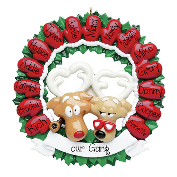red mitten wreath for up to 15/personalized christmas ornament