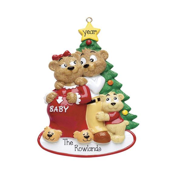 EXPECTING~Bear Family of 3~Personalized Christmas Ornament