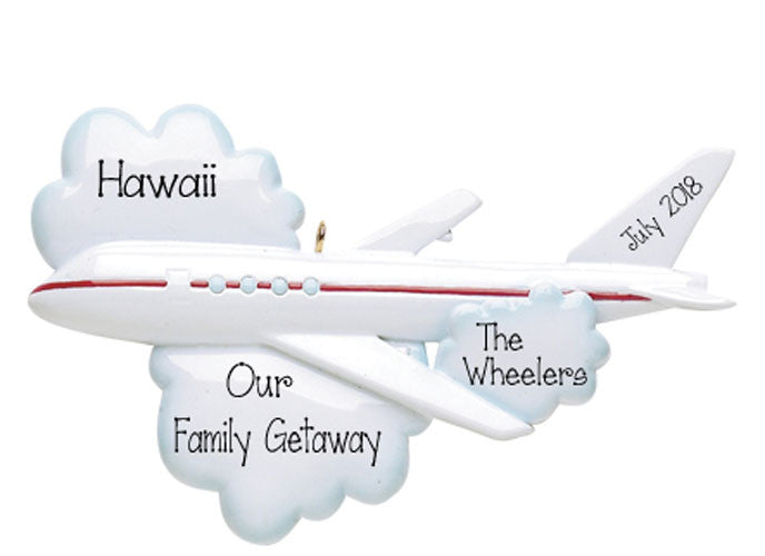 Jet Airplane / Vacation-Personalized Christmas Ornament