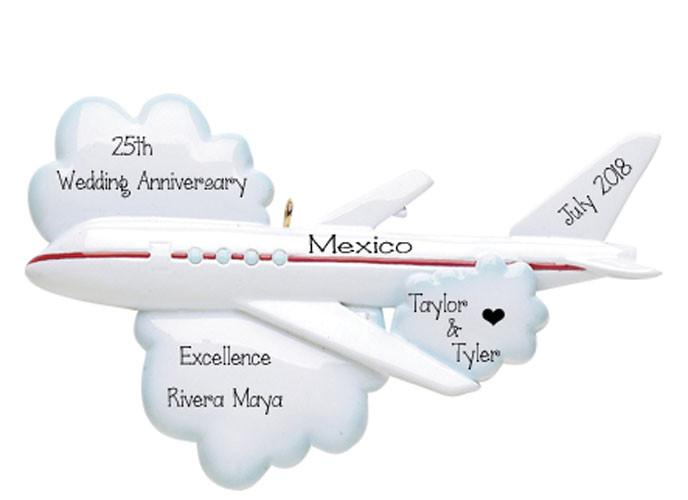 TRIP ON AIRPLANE FOR ANNIVERSARY ORNAMENT / MY PERSONALIZED ORNAMENTS