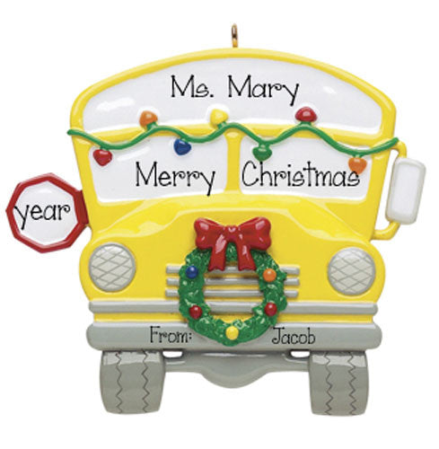 School Bus w/Wreath - Personalized Ornament