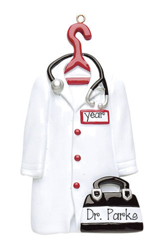 Doctor White Coat and Bag - Personalized Ornament