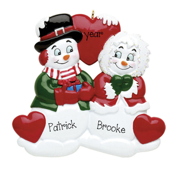 Goo Goo Eyes Snowmen COUPLE~Personalized Christmas Ornament