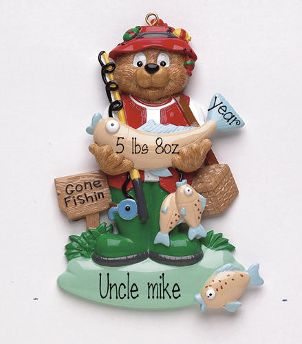 FISHING BEAR UNCLE ORNAMENT / MY PERSONALIZED ORNAMENTS