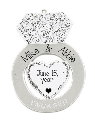 Silver ENGAGEMENT Ring ~Personalized Christmas Ornament