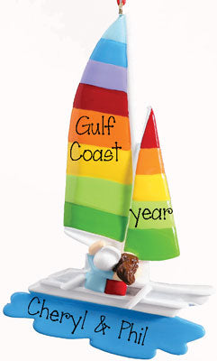 SAILBOAT WITH RAINBOW COLOR SAILS ORNAMENT, MY PERSONALIZED ORNAMENTS