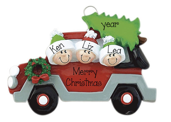 "Car w/ Christmas Tree ""Family of 3"" Ornament"